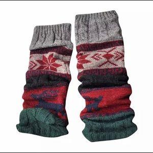 Wool Leg Warmers Long Sock Green/ Gray/ Black